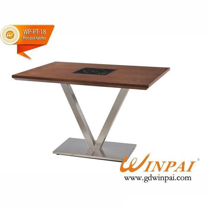 Hot Pot Square Table With Stainless Steel Table Frame And Fire Board Table Top-WINPAI