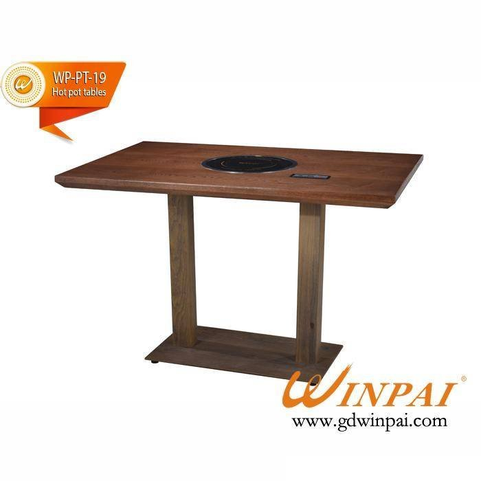 Wholesale Hot Pot Table With Fire Board Table Top And Cast Iron Table Frame-WINPAI