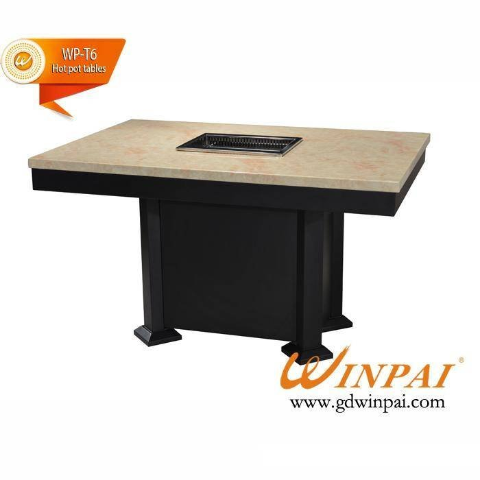 Square BBQ Grill Table With Marble Table Top And Iron Table Base Manufacturer-GuangDong ShunDe