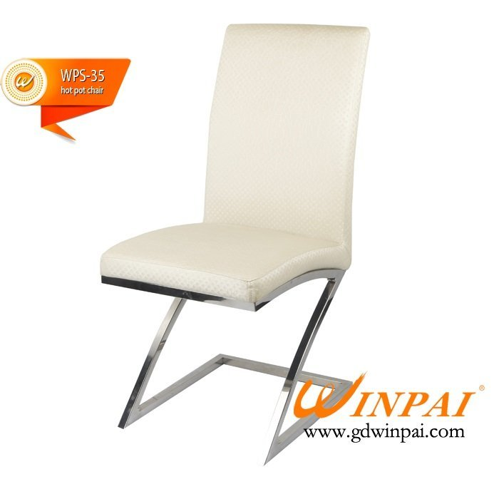 Import furniture from china brushed stainless steel dining hot pot chairs-WINPAI