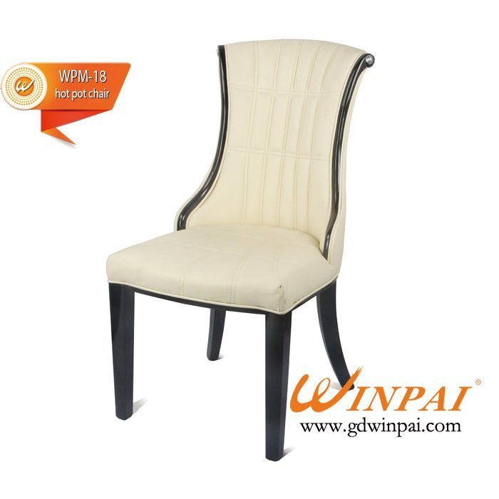 Hot selling dining chair,hotel chair,hot pot chair,wooden chair( PU covered)-WINPAI