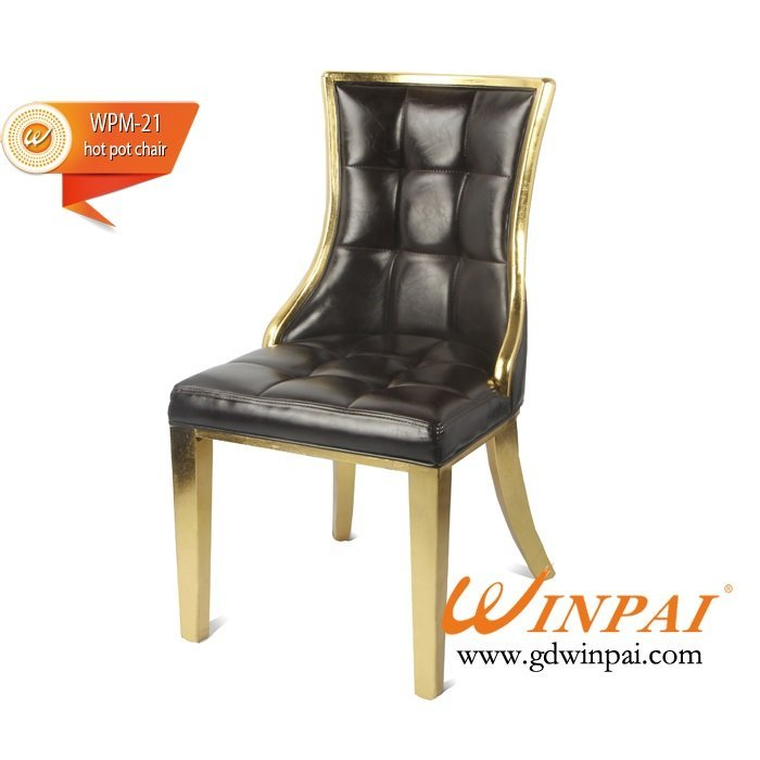 Metal-like wooden chairs for hot pot restaurant, hotel, banquet, dining places-WINPAI