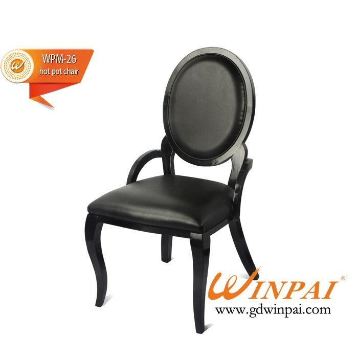 Black wooden dining chair,hotel chair,hot pot chair ( PU covered)-WINPAI