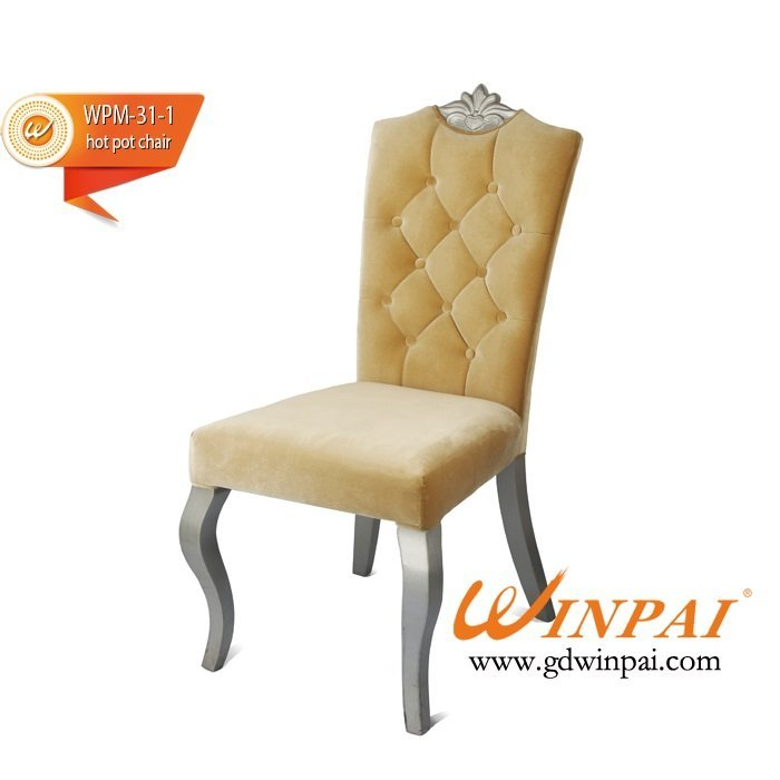 Metal-like wooden chair (flannel covered)-WINPAI