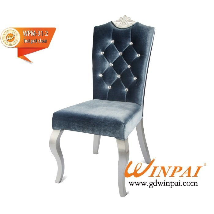 2015 Metal-like wooden chair (flannel covered)-WINPAI