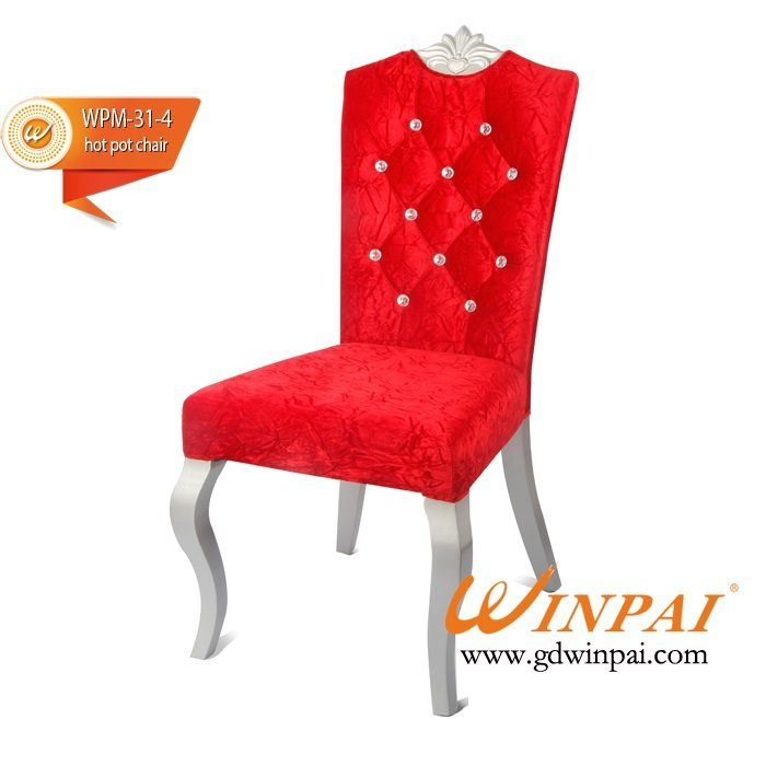 Elegant metal-like wooden dining chair (flannel covered) for banquet, restaurant,party -WINPAI