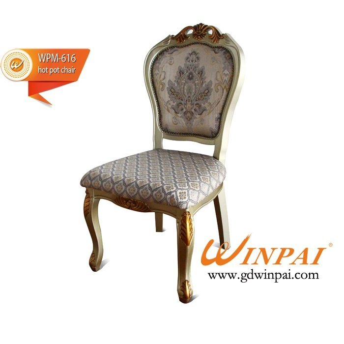 2015 High-end hotel chair,restaurant chair,dining chair-WINPAI Champagne silver sand wooden chair