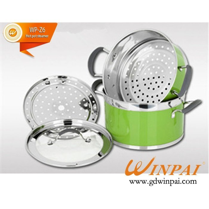 Fashion candy color double bottom floor hot pot with steamer-WINPAI