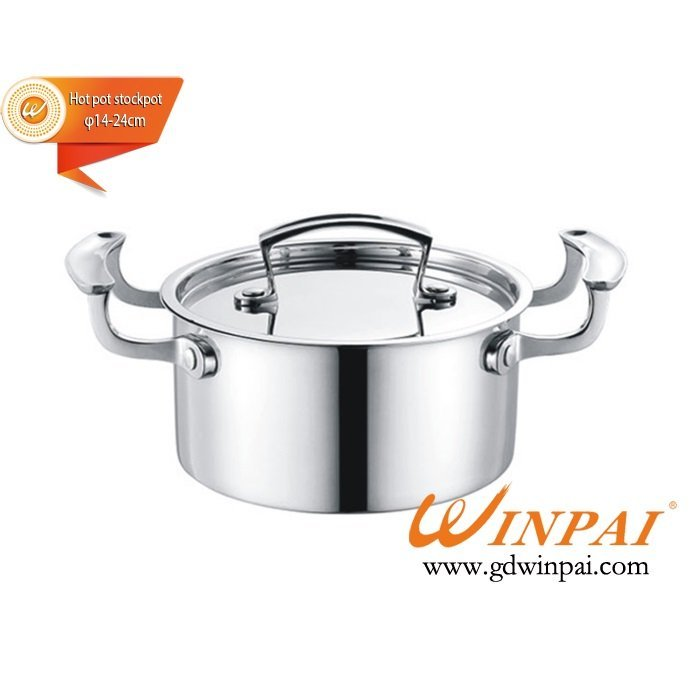 High quality double bottom pot,hot pot stockpot,soup pot-WINPAI