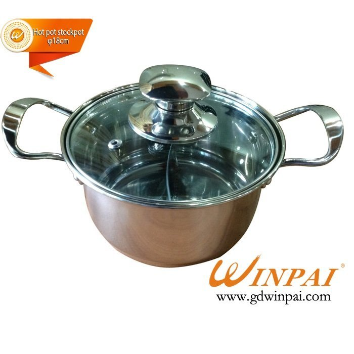 Small Stainless Steel asia hot pot stockpot,two flavor soup pot-WINPAI