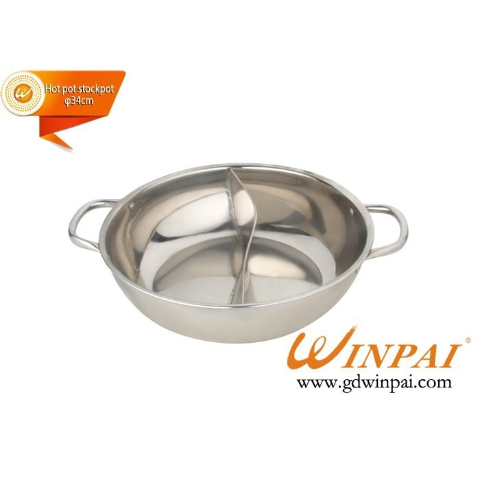 WINPAI Stainless Steel Hot Pot Stockpot Induction Cooker Two-flavor Hot Pot