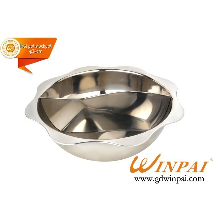Top quality eight-square stainless steel hot pot cookware two-flavor hot pot stockpot-WINPAI