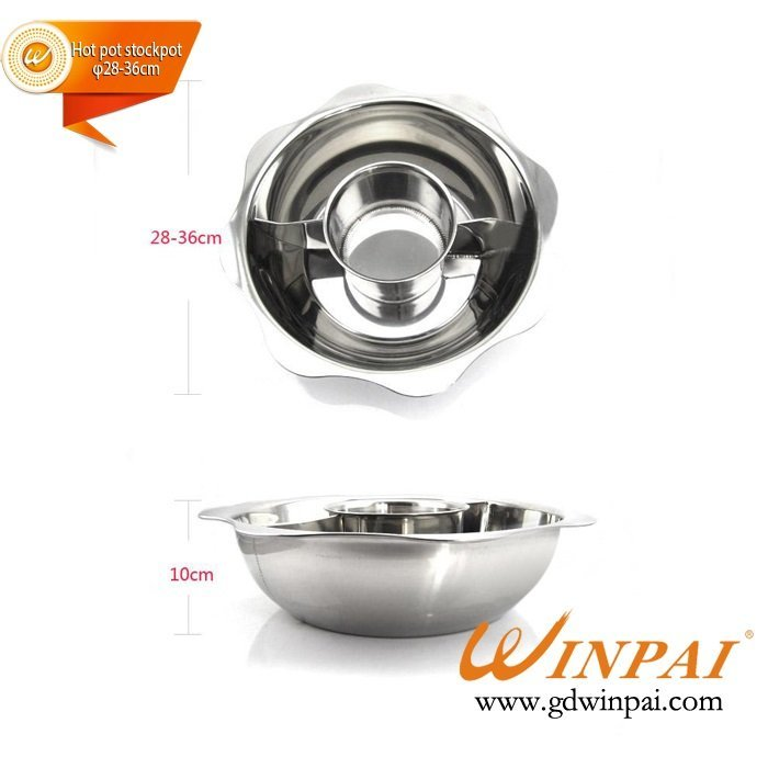 Stainless steel 3 grid hot pot double taste soup sun fondue pot-WINPAI