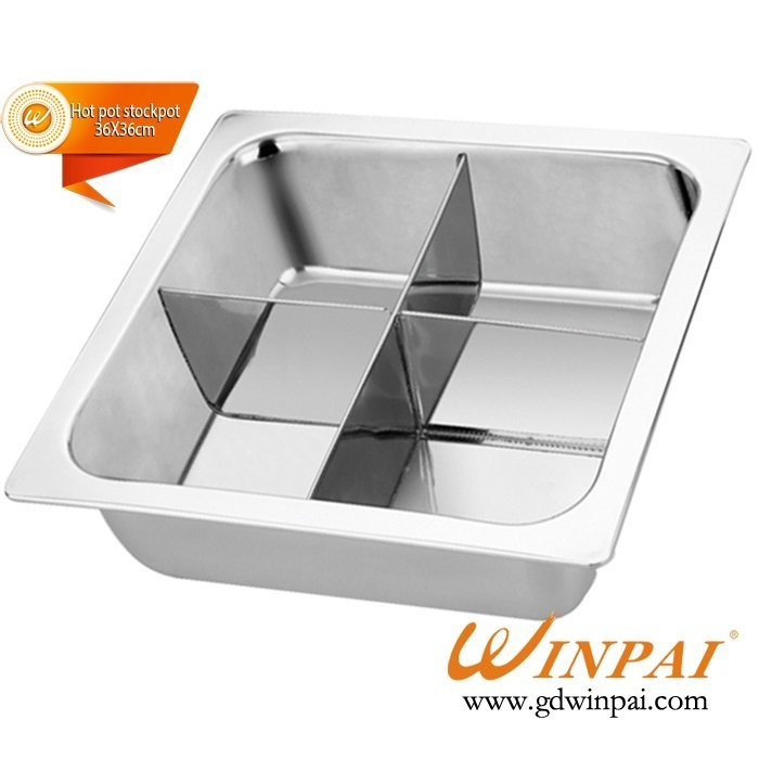 Stainless Steel square hot pot stock pot with 4 grid of WINPAI