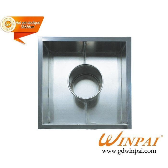 Square Stainless Steel Hot-pot Soup Pot,Hot pot stockpot with divider OEM-WINPAI