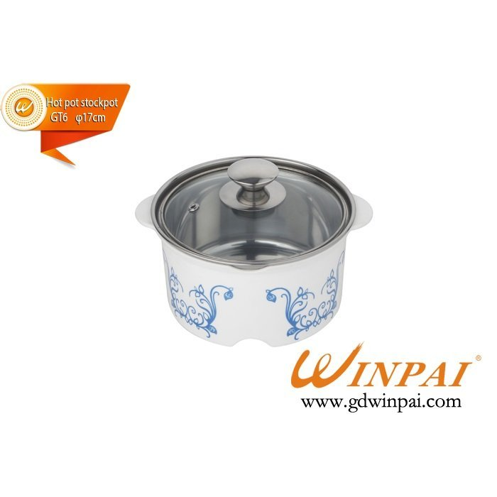 Single stainless steel  hot pot stockpot with glass lid-WINPAI