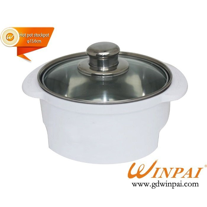WINPAI Small Stainless Steel Soup Pot Cooking Tools  Stockpot with Glass Cover