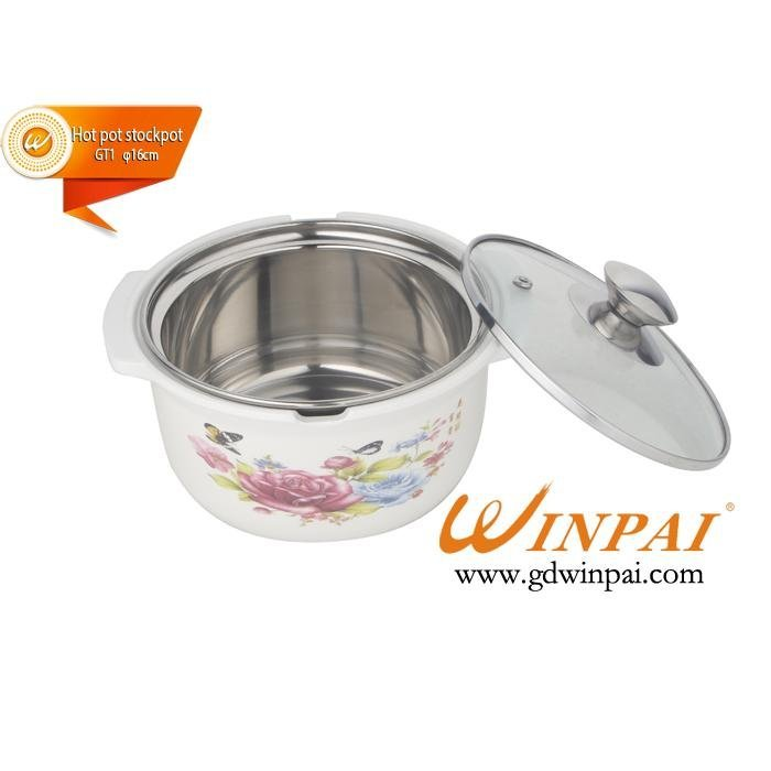 Mini stainless steel fashion soup cooking pot cookware with glass cover-WINPAI