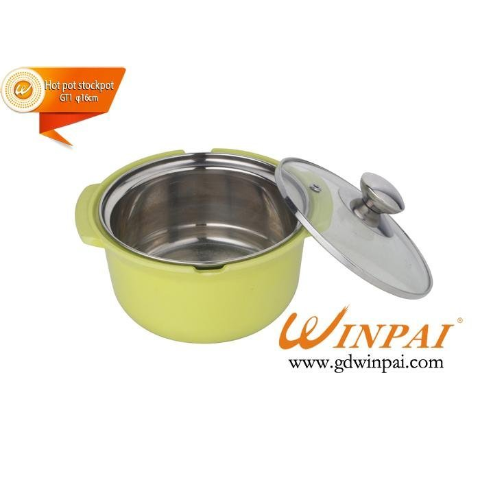Mini stainless steel soup cooking pot cookware with glass cover-WINPAI