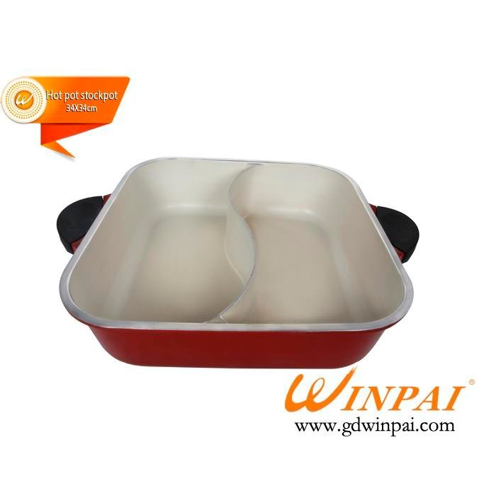 The new square white aluminum duck pot,hot pot stockpot with two-flavor-WINPAI