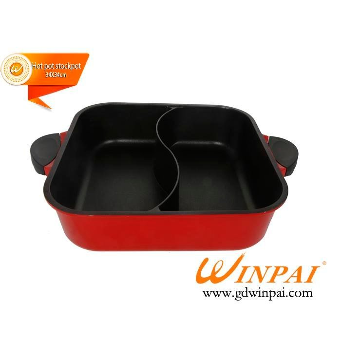 Square black two-flavor non-stick aluminum cooking hot pot,hot pot stockpot-WINPAI