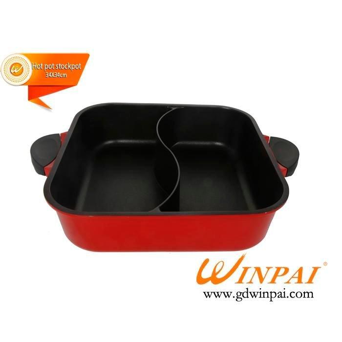 Square black two-flavor non-stick aluminum cooking hot pot,hot pot stockpot-WINPAI