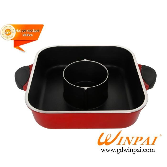 Chinese style Aluminum hot pot with divider/2 compartments hot pot stockpot -WINPAI