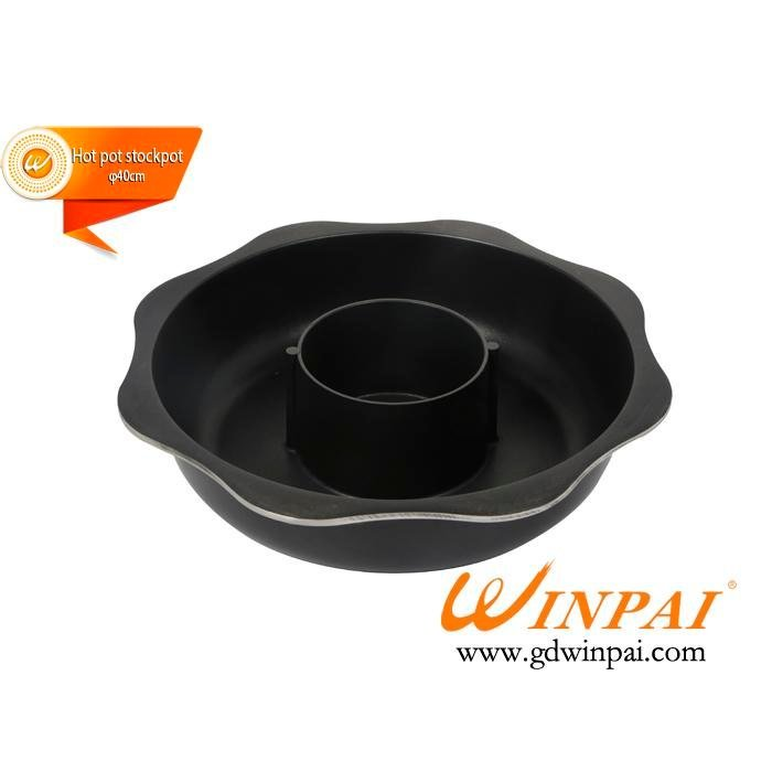 Black eight-square thickening aluminum hot pot cookware hot pot stockpot-WINPAI
