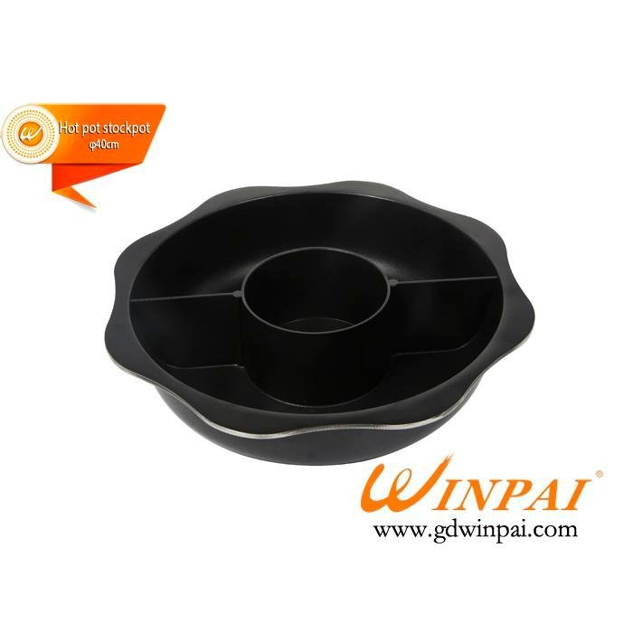 Barbecue Supplys Aluminum Hot Pot Stockpot Two-flavor Hot Pot  duck pot sun pot-WINPAI