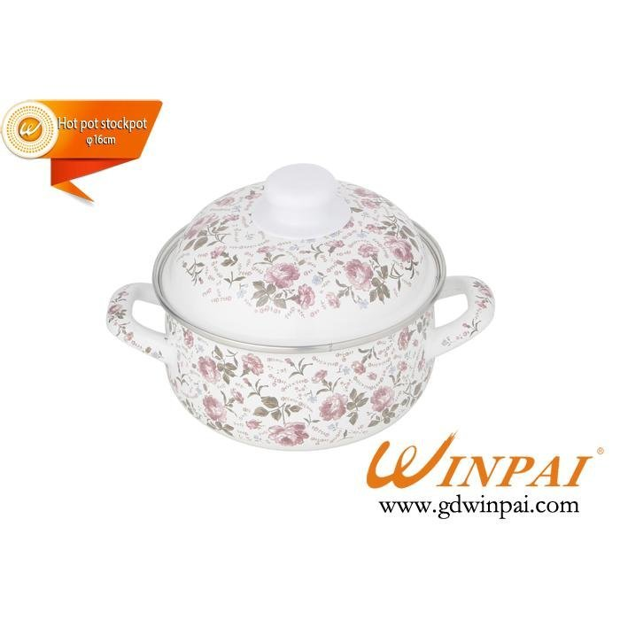 Mini enamel hot pot stockpot with Rose-WINPAI