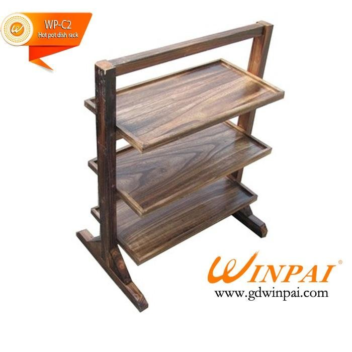 Wooden Hot pot dish rack Hot pot rack trolley restaurant dish rack-WINPAI