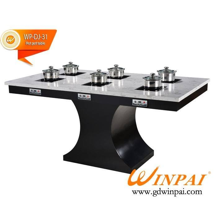 Modern restaurant quartz stone hot pot table ODM-WINPAI