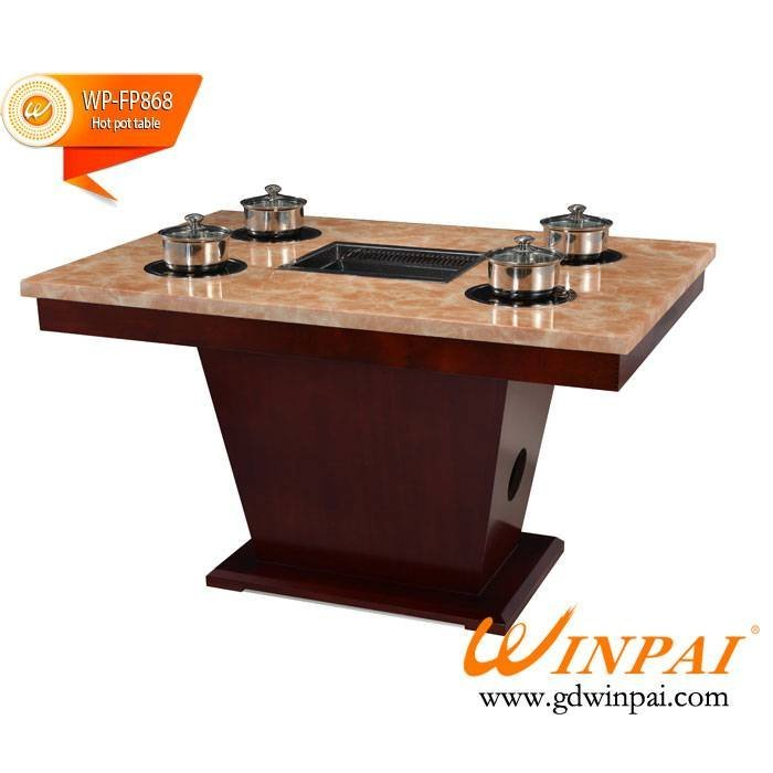 WINPAI high quality hot pot restaurant table with grills
