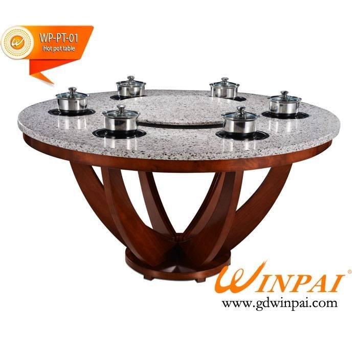 2015 new design round restaurant quartz hot pot table-WINPAI