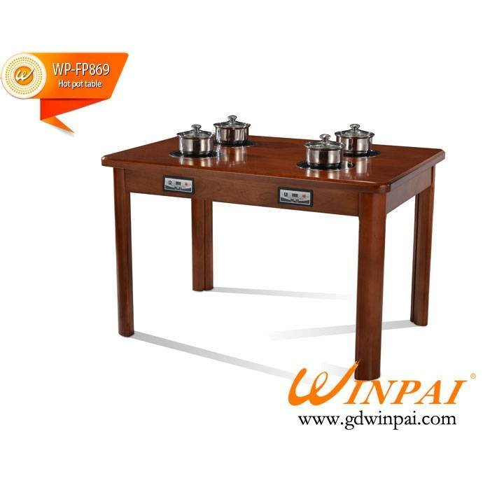 Hot sale square solid wooden dining table,hot pot bable,hotel table,restaurant table-WINPAI