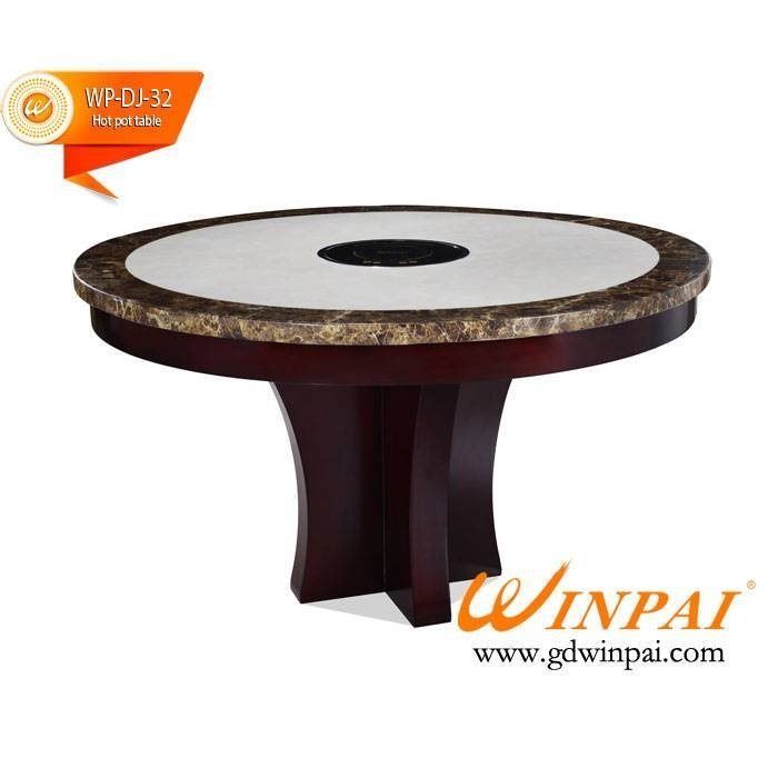 Top quality round marble table,wooden table,hot pot table-WINPAI