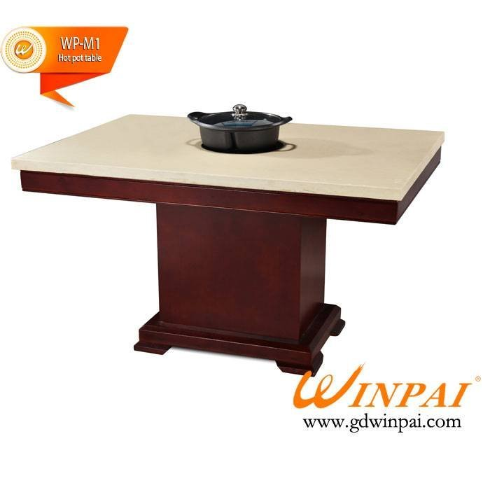 Customer Stone Marble Hot pot table factory WINPAI