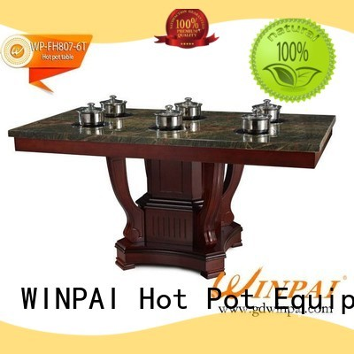 WINPAI artificial built in hot pot table supplier for hotpot city