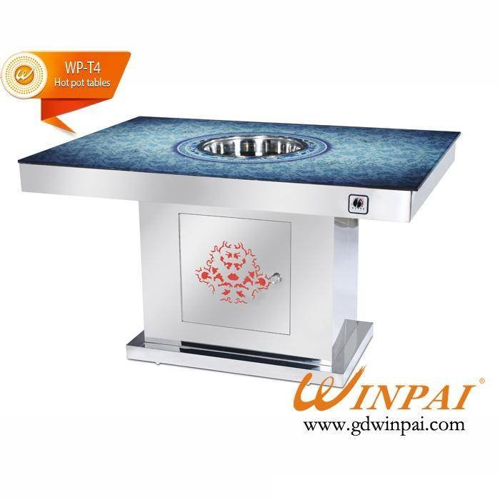 Hot-pot Restaurant Table With Marble Table Top And Stainless Steel Table Base Supplied By WINPAI