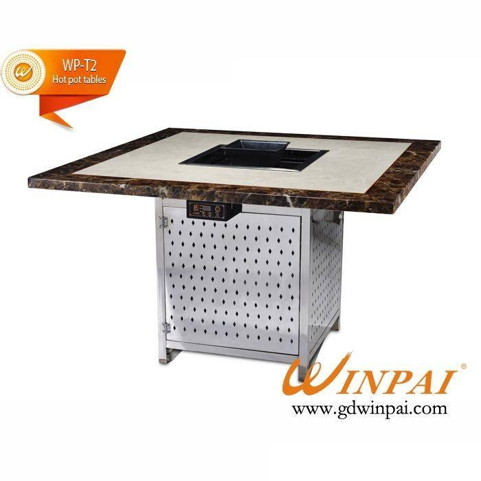 Winpai square stainless steel table frame marble top grilled whole Hot pot table