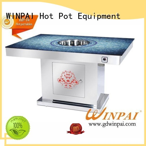 WINPAI rectangle hot pot table manufacturers Suppliers for cafe