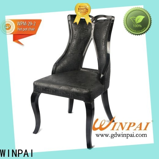 WINPAI leather plain wooden dining chairs Supply for home