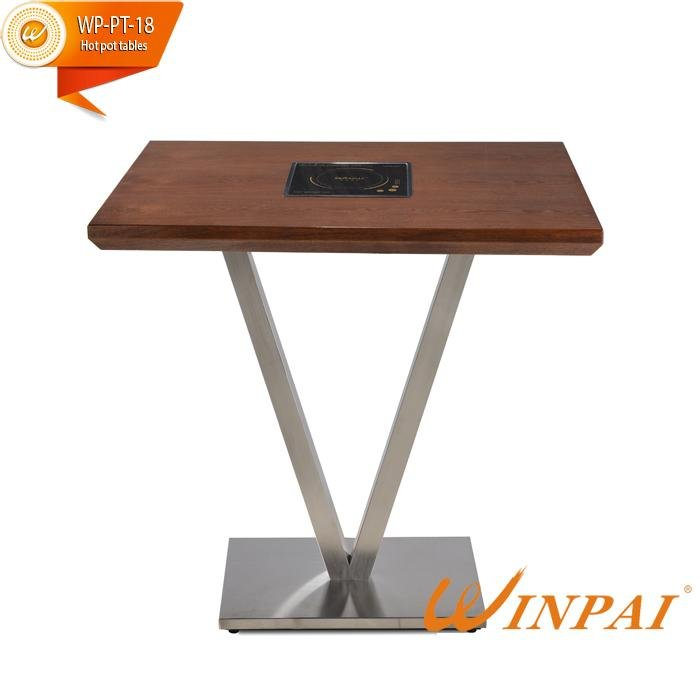 product-Hot Pot Square Table With Stainless Steel Table Frame And Fire Board Table Top-WINPAI-WINPAI